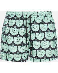 NOS Beachwear Printed Swim Shorts - Green