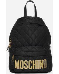 Moschino Logo Diamond-quilted Nylon Medium Backpack - Black