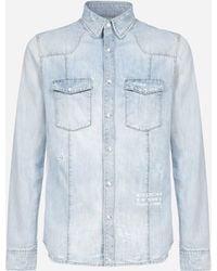 Givenchy Logo Distressed Denim Shirt - Blue