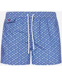 Kiton Printed Swim Shorts - Blue