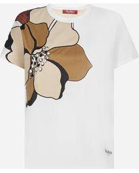 Max Mara Studio T-shirt Baviera in cotone con stampa floreale - Bianco