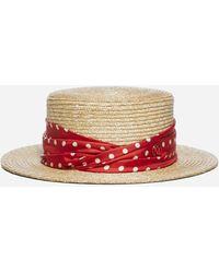 Maison Michel Kiki Polka-dot Straw Hat - Multicolour