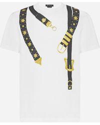 Versace Belts Print Cotton T-shirt - Multicolor