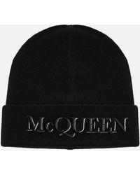 Alexander McQueen Logo Wool And Cashmere Beanie - Black