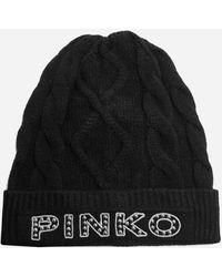 Pinko Camarino Logo Cable-knit Beanie - Black