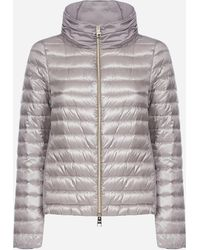 Herno Asymmetrical Quilted Nylon Down Jacket - Gray