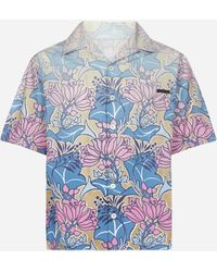 Prada Tropical Flower Print Short-sleeved Shirt - Blue