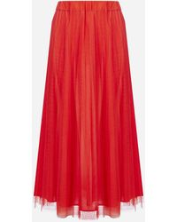 P.A.R.O.S.H. Parallel Pleated Tulle Midi Skirt - Red