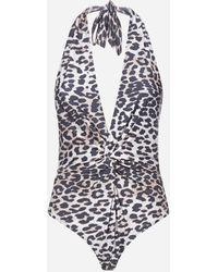 Ganni Costume intero con stampa leopardata - Multicolore