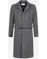 Saint Laurent Single-breasted Diagonal-weave Wool Coat - Gray
