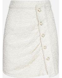 Amen Buttoned Boucle' Miniskirt - White
