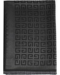 Givenchy 4g Logo Wool And Silk Scarf - Grey