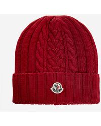 Moncler Cable-knit Logo Patch Beanie - Red