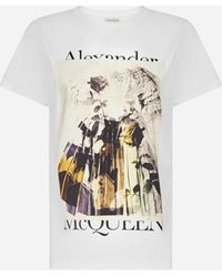 Alexander McQueen T-shirt in cotone con stampa e logo - Bianco
