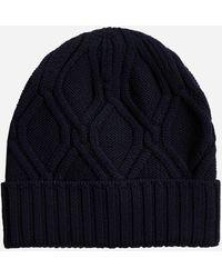 Lardini Cable-knit Wool Beanie - Blue