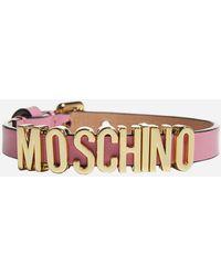 Moschino Adjustable Logo Plaque Bracelet - Pink