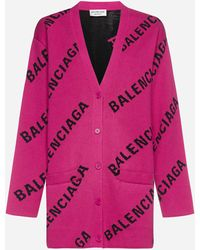 Balenciaga Cardigan misto cotone e lana con logo all-over - Rosa