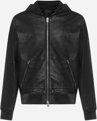 Amiri Hooded Leather Jacket - Black