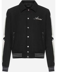 Amiri Bones Wool Varsity Jacket - Black