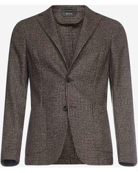 Z Zegna Micro-check Wool-blend Single-breasted Blazer - Multicolour