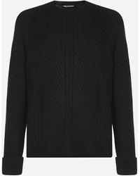 Neil Barrett Wool-blend Ribbed Jumper - Black