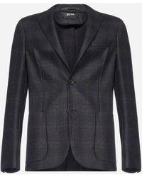 Z Zegna Check Wool Blazer - Blue