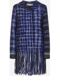 Marni Cappotto in tweed con frange - Blu
