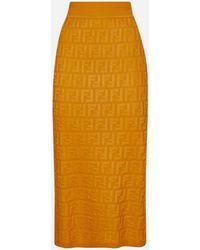 Fendi Ff Logo Jacquard Midi Skirt - Orange