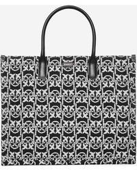 Pinko Love Monogram Shopping Tote Bag - Black