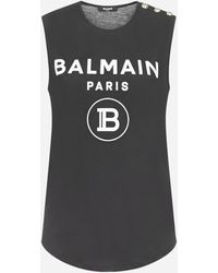 Balmain Logo Tank Top - Black