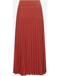 Tory Burch Cotton -blend Pleated Midi Skirt - Red