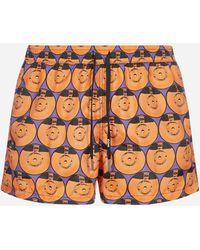 NOS Beachwear Printed Swim Shorts - Orange