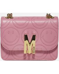 Moschino M Smiley Nappa Leather Small Shoulder Bag - Pink