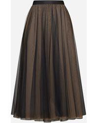 Blanca Vita Cigaro Tulle Midi Skirt - Brown
