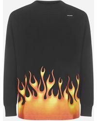 Palm Angels T-shirt Burning logo in cotone oversize - Nero