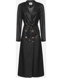 Nanushka Manila Faux Leather Trench Coat - Black
