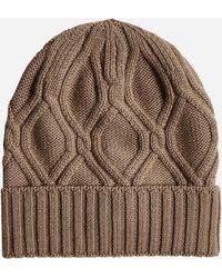 Lardini Cable-knit Wool Beanie - Brown