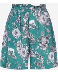 Pinko Shorts Per Averti in viscosa con stampa floreale - Blu