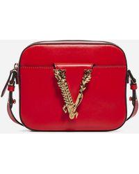 Versace Borsa Virtus a tracolla in pelle - Rosso
