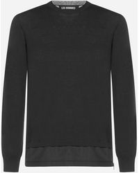 Les Hommes Double Layered Silk Jumper - Black