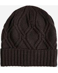 Lardini Cable-knit Wool Beanie - Black