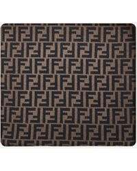 Fendi Sciarpa in cashmere e lana con logo FF - Multicolore