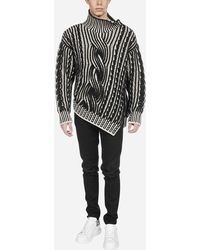 Alexander McQueen Asymmetric Cable-knit Wool And Cashmere Turtleneck - Multicolour