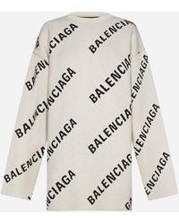 Balenciaga Pull misto cotone e lana con logo all-over - Multicolore