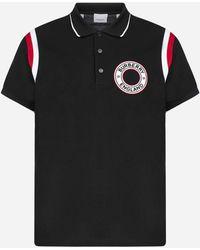 Burberry Polo in cotone con patch-logo - Nero