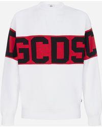 Gcds Felpa in cotone con bande-logo - Rosso