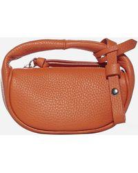 BY FAR Micro Cush Flat Leather Hand Bag - Brown