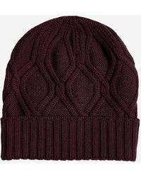 Lardini Cable-knit Wool Beanie - Purple