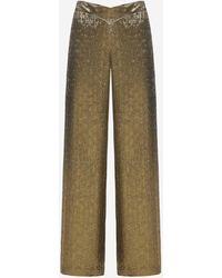 Lanvin Pantaloni in seta jacquard con logo - Multicolore