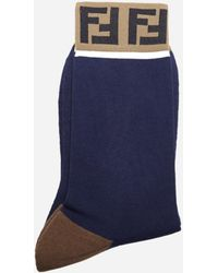 Fendi - Calzini in cotone stretch con logo FF - Lyst